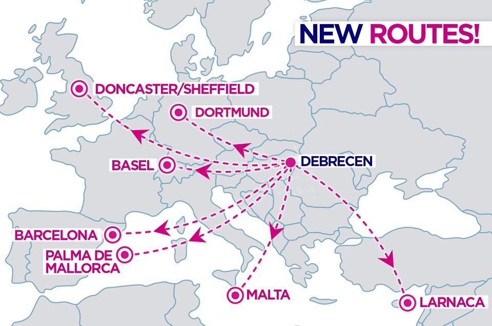 Wizz Air откроет 7 новых авиарейсов из Дебрецена!