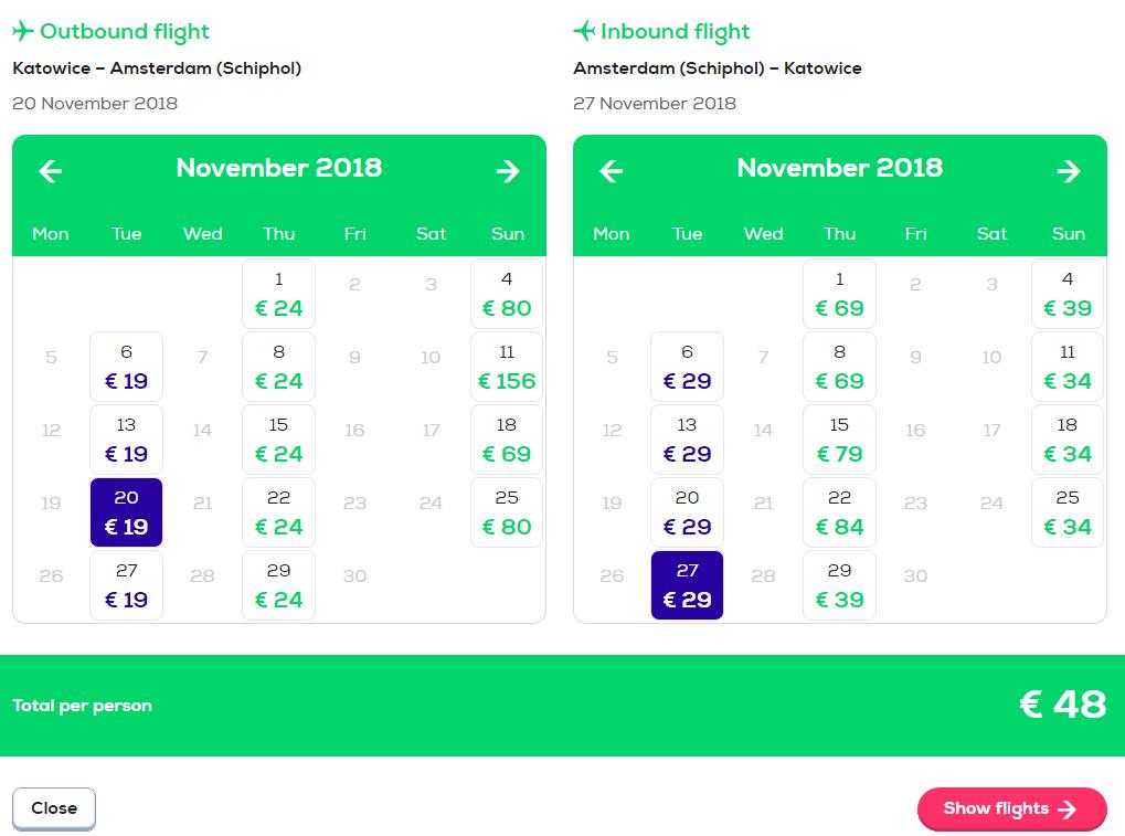 Авиабилеты на прямые рейсы Катовице - Амстердам от €48 в две стороны! -