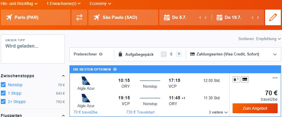 Невероятно! Авиабилеты в Бразилию из Парижа от 70 евро в две стороны! -