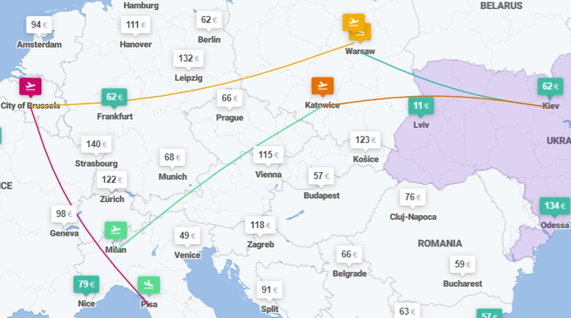 Киев ✈ Варшава ✈ Брюссель ✈ Пиза - Милан ✈ Катовице ✈ Львов 5 авиабилетов от €135! -