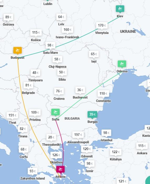 Киев ✈ Будапешт ✈ Афины ✈ София ✈ Одесса - 4 авиабилеты от €146! -
