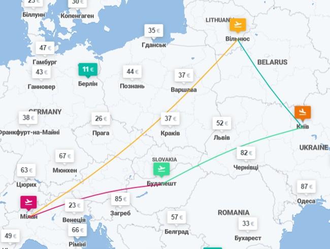 Киев ✈ Киев ✈ Милан ✈ Будапешт ✈ Киев - 4 авиабилеты лишь от €97! -