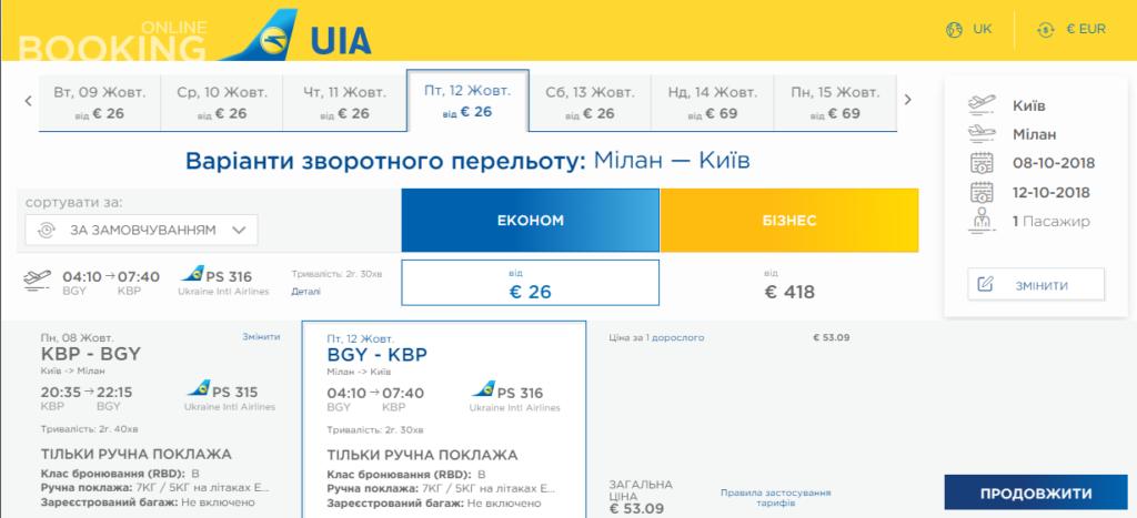 київ мілан дешеві авіаквикти
