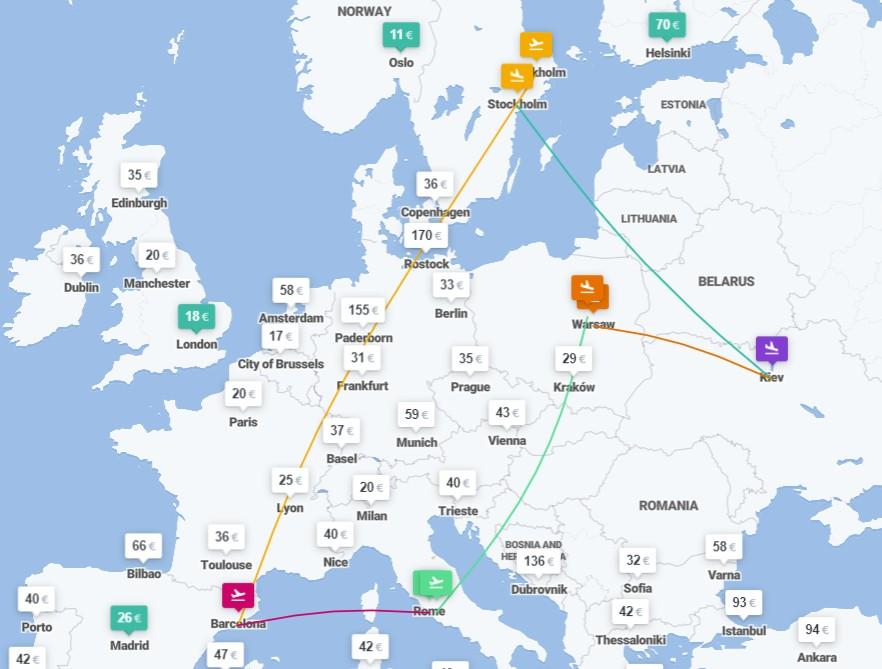 Киев ✈ Стокгольм ✈ Барселона ✈ Рим ✈ Варшава ✈ Киев – 5 авиабилетов за €131! -