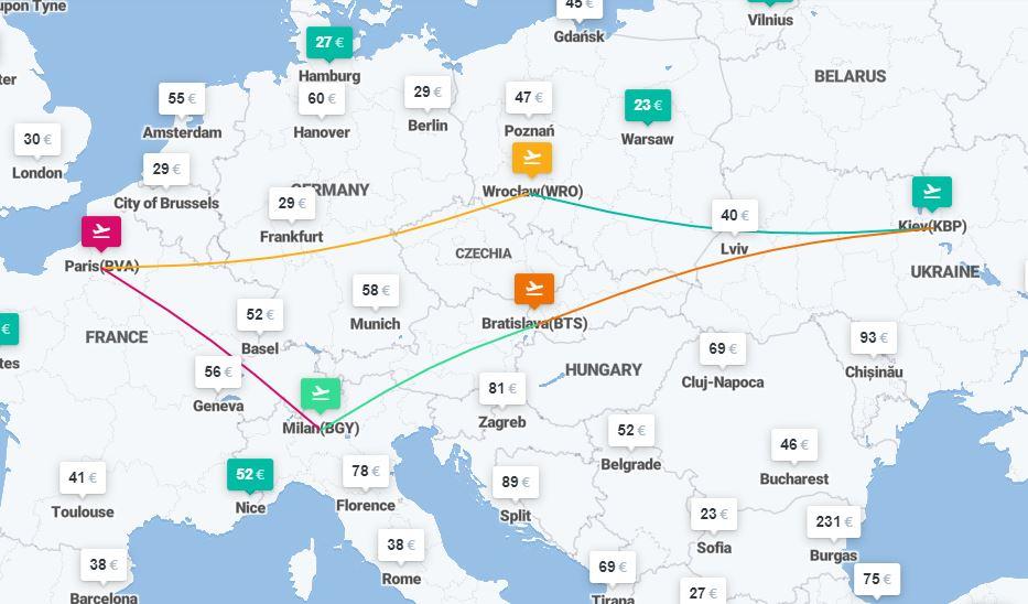 Париж, Милан и Братислава с Украины – 5 авиабилетов за €69! -