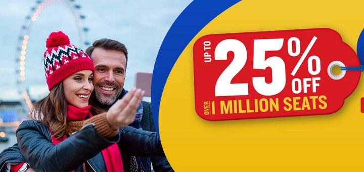 Более миллиона билетов со скидкой до 25% от Ryanair! Перелеты из Украины от €9,9 в одну сторону! -