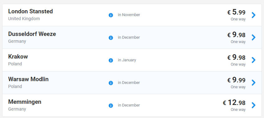 Распродажа Ryanair на зиму от €9! Сегодня вечером сайт Ryanair будет недоступен 12 часов! -