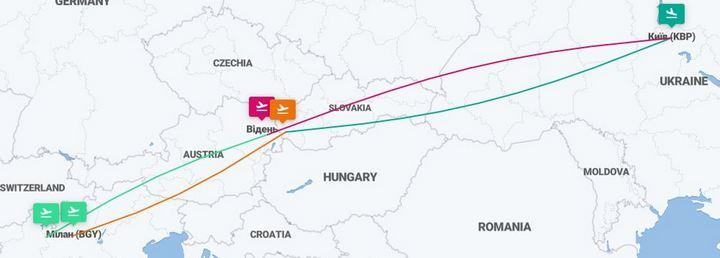 Киев – Братислава – Милан – Вена – Киев – 4 авиабилеты за €56! -