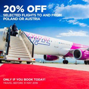 Wizz Air: 20% скидки на авиабилеты в Польшу и Австрию для всех! -