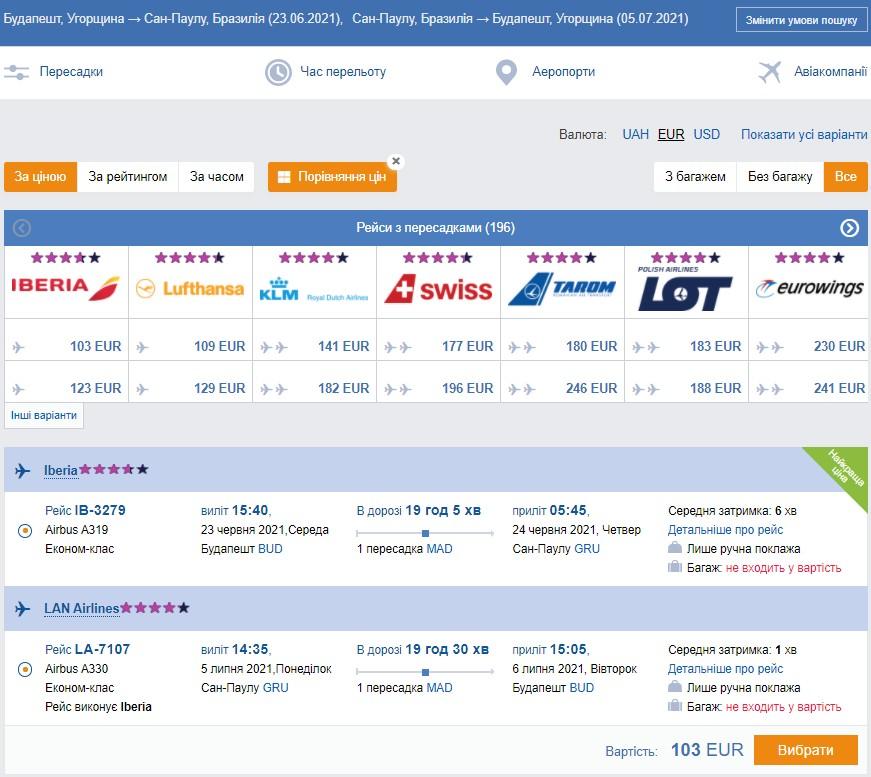 Невероятно! Авиабилеты из Будапешта в Бразилию от € 103 в ДВА стороны! -