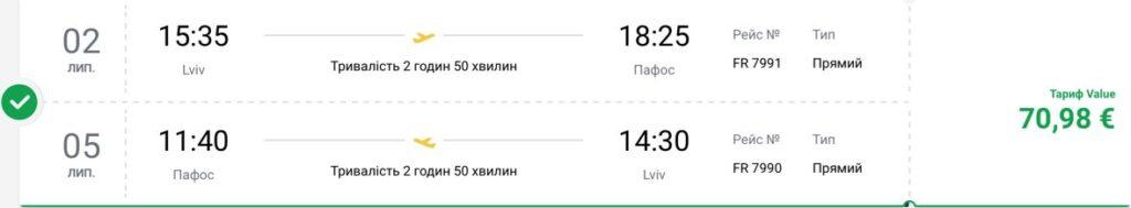 Уже этим летом новый рейс из Львова в Пафос (Кипр) от Ryanair! -