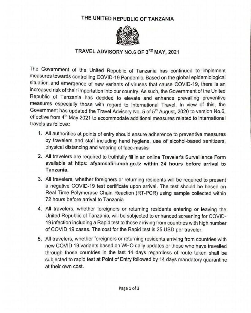 Танзания внедряет требование ПЦР-теста для въезда! -